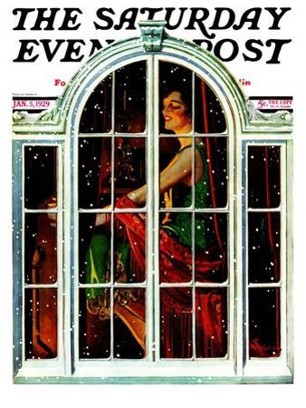 """""""Snowy Night,"""" Saturday Evening Post Cover, January 5, 1929"""