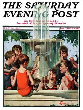 """""""Swimming in Fountain,"""" Saturday Evening Post Cover, July 24, 1926 by Elbert Mcgran Jackson"""