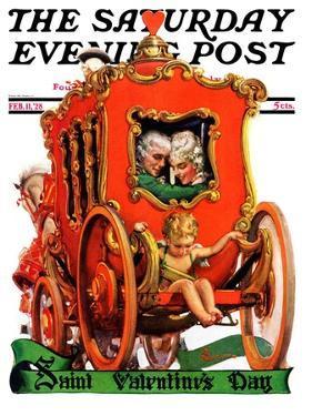 """Valentine Ride,"" Saturday Evening Post Cover, February 11, 1928 by Elbert Mcgran Jackson"
