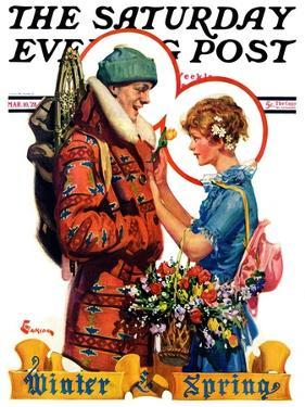 """""""Winter and Spring,"""" Saturday Evening Post Cover, March 10, 1928 by Elbert Mcgran Jackson"""