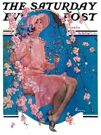 """""""Woman on Floral Swing,"""" Saturday Evening Post Cover, May 19, 1928"""