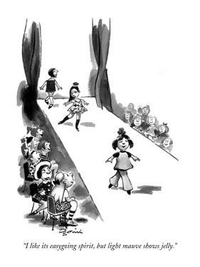 """I like its easygoing spirit, but light mauve shows jelly."" - New Yorker Cartoon by Eldon Dedini"