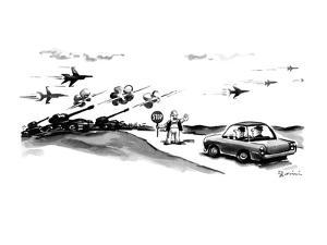 Workman holding stop sign motions to two men in car;in front of them are t… - New Yorker Cartoon by Eldon Dedini