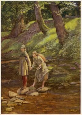 As You Like It, Rosalind and Celia and His Sister Aliena in the Forest of Arden by Eleanor Fortescue Brickdale