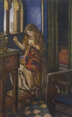"""Elaine the """"Lily-Maid of Astolat"""" Otherwise Known as the Lady of Shalott Working by Eleanor Fortescue Brickdale"""