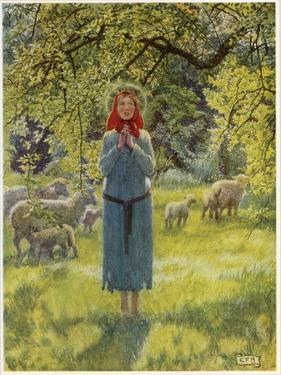 "Jeanne D'Arc Hearing Her ""Voices"" While Minding Her Sheep at Domremy by Eleanor Fortescue Brickdale"