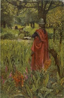 """Lancelot Mourns for Elaine the """"Lily-Maid of Astolat"""" Otherwise Known as the Lady of Shalott by Eleanor Fortescue Brickdale"""