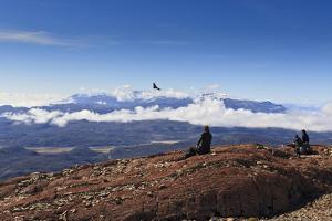 Hikers Watch a Condor (Vultur Gryphus) by Eleanor