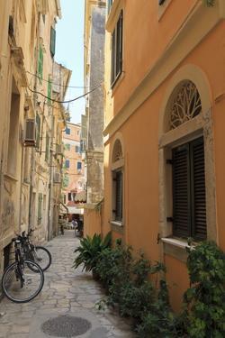 Narrow Street with Bike, Old Town, Corfu Town, Corfu, Ionian Islands, Greece by Eleanor