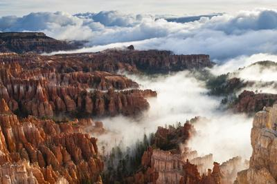 Pinnacles and Hoodoos with Fog Extending into Clouds of a Partial Temperature Inversion