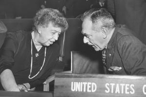 Eleanor Roosevelt and Secretary of State Dean Acheson at United Nations General Assembly in Paris