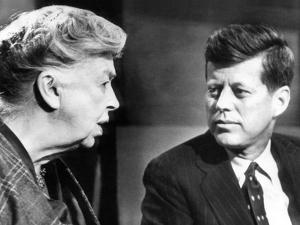 Eleanor Roosevelt and Sen John F Kennedy in a Public Appearance at Brandeis University