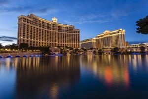 Bellagio and Caesars Palace Reflections at Dusk, the Strip, Las Vegas, Nevada, Usa by Eleanor Scriven