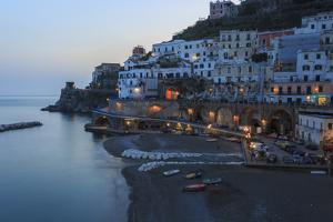 Blue Hour, Dusk in Atrani, Near Amalfi, Costiera Amalfitana (Amalfi Coast), Campania, Italy by Eleanor Scriven
