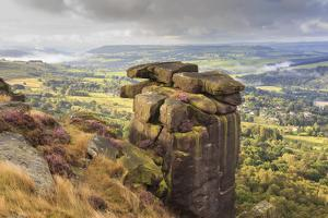 Curbar Edge, Summer Heather, View Towards Chatsworth, Peak District National Park, Derbyshire by Eleanor Scriven