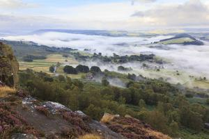 Early Morning Fog around Curbar Village, from Curbar Edge, Peak District National Park by Eleanor Scriven
