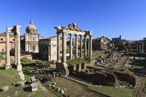 Elevated View of the Columns of the Temples of Saturn and Vespasian with Santi Luca E Martina by Eleanor Scriven