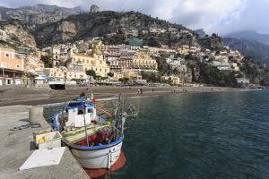 Fishing Boat at Quayside and Positano Town, Costiera Amalfitana (Amalfi Coast), Campania, Italy by Eleanor Scriven
