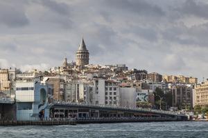 Galata Bridge across the Golden Horn, Beyoglu District, Istanbul, Turkey, Eurasia by Eleanor Scriven