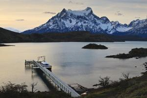 Lago Pehoe Boat and Dock with the Cordillera Del Paine at Sunset by Eleanor Scriven