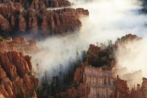 Pinnacles and Hoodoos with Fog Extending into Clouds of a Partial Temperature Inversion by Eleanor Scriven