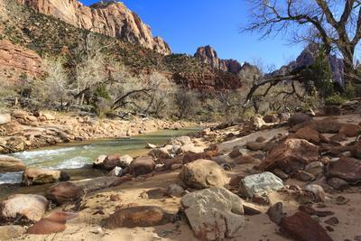 Shores of the Virgin River in Winter, Zion Canyon, Zion National Park, Utah, Usa