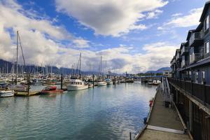 Small Boat Harbour, hotel, small boats and mountains, Seward, Resurrection Bay, Kenai Peninsula, Al by Eleanor Scriven