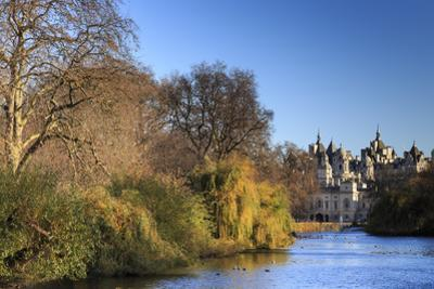 St. James's Park, with view across lake to Horse Guards, sunny late autumn, Whitehall, London, Engl by Eleanor Scriven