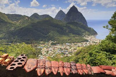Souvenir Stall with View of the Pitons and Soufriere