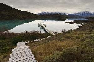 Steps to Boatdock and Reflections in Lago Pehoe by Eleanor