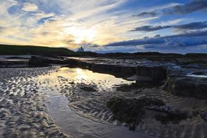 Summer Sunset over Bamburgh Beach Lighthouse, Bamburgh, Northumberland, England by Eleanor