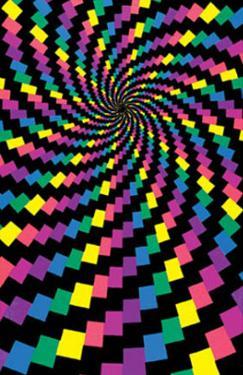 Electric Rainbow Spiral Flocked Blacklight Poster Print