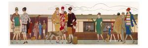 Elegantly Dressed Women Waiting to Board a Pullman Train
