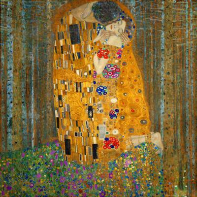 Collage Design with Painting Elements - The Kiss & Tannenwald (Pine Forest) by Elements of Gustav Klimt