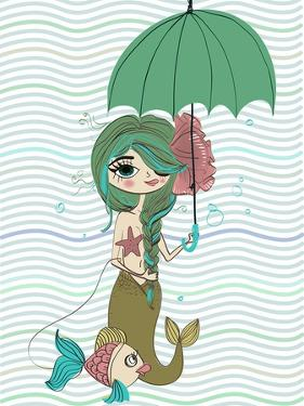 Cute Mermaid with Umbrella by Elena Barenbaum