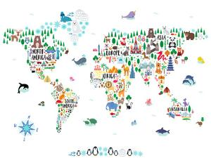 Animal World Map by Elena David