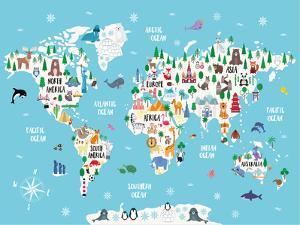 Blue Animal World Map by Elena David
