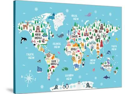 Blue Animal World Map