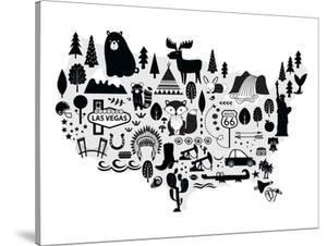 Us Monochrome Map by Elena David