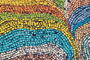 Detail of Beautiful Old Collapsing Abstract Ceramic Mosaic Adorned Building. Venetian Mosaic as Dec by Elena Larina