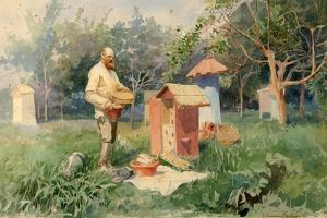 At the Bee Yard, 1890 by Elena Petrovna Samokish-Sudkovskaya