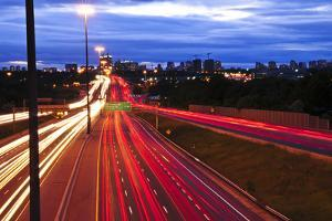 Night Traffic on a Busy City Highway in Toronto by elenathewise