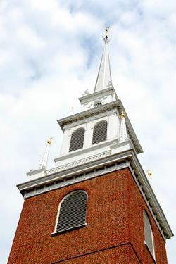 Steeple of Old North Church in Boston Historical North End by elenathewise