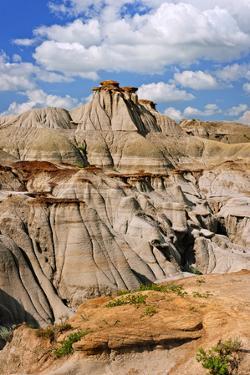 View of the Badlands and Hoodoos in Dinosaur Provincial Park, Alberta, Canada by elenathewise