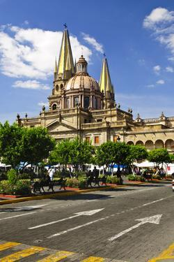 View of the Cathedral from Zocalo in Historic Center in Guadalajara, Jalisco, Mexico by elenathewise