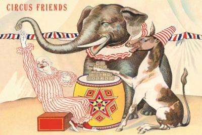 Elephant, Horse, Clown with Blocks