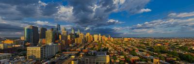 Elevated view of a city at dusk, Philadelphia, Pennsylvania, USA