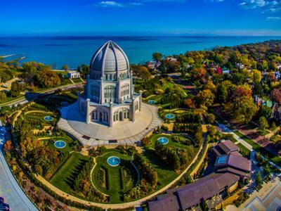Elevated view of Baha'i Temple, Wilmette, Cook County, Illinois, USA