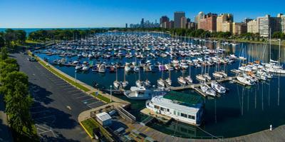 Elevated view of Belmont Yacht Club, Chicago, Illinois, USA