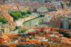 Elevated view of Bilbao, Spain (Bilbo) and river Ibaizabal